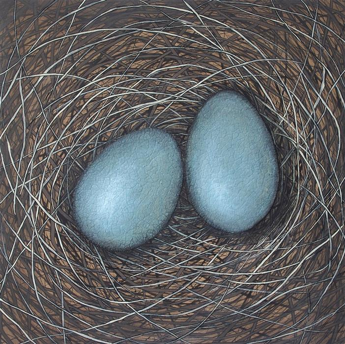 Original art for sale at UGallery.com | Each Must Enter The Nest by JENNIFER ROSS | $3,500 |  | 40' h x 40' w | ..\art\mixed-media-artwork-Each-Must-Enter-The-Nest