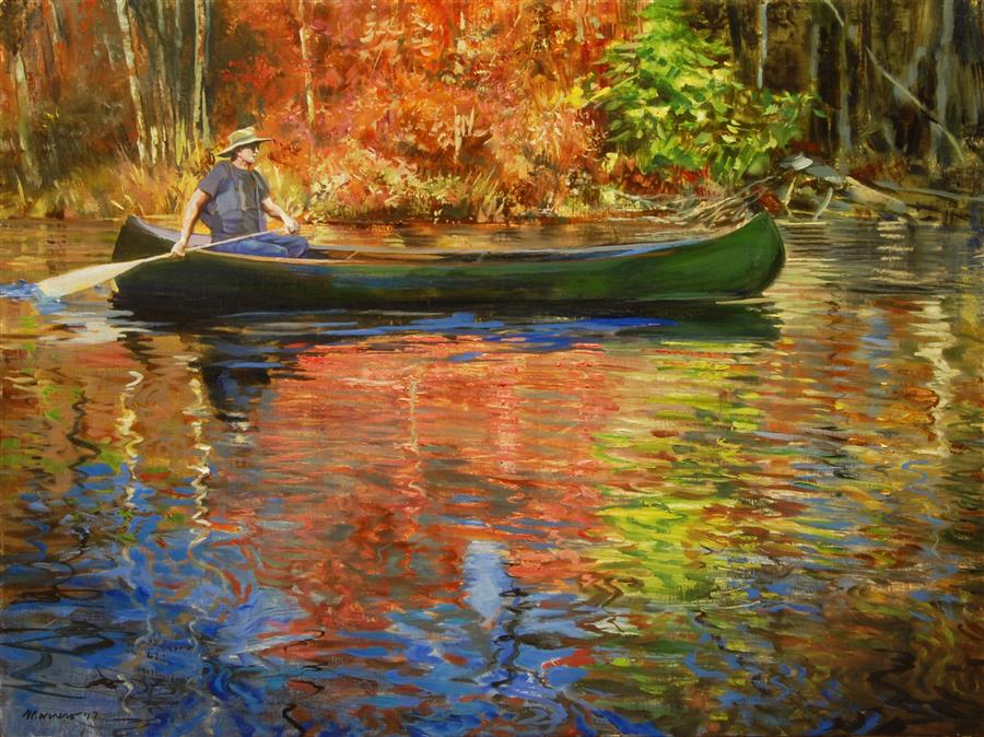 Original art for sale at UGallery.com | Slicing Fall Colors by Onelio Marrero | $1,000 | oil painting | 18' h x 24' w | ..\art\oil-painting-Slicing-Fall-Colors