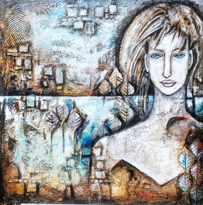 Original art for sale at UGallery.com | Eleonor by CLEMENCE DUBOIS | $1,600 |  | 30' h x 30' w | ..\art\mixed-media-artwork-Eleonor