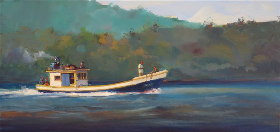Original art for sale at UGallery.com | The Taboga Commute by GEORGE SCRIBNER | $1,250 |  | 15' h x 30' w | ..\art\oil-painting-The-Taboga-Commute