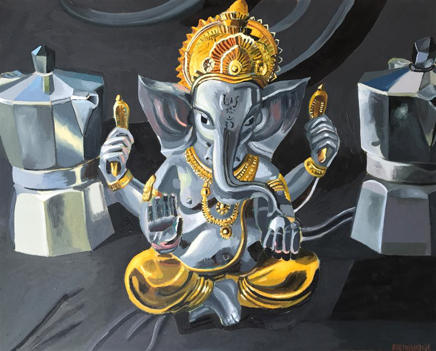 Original art for sale at UGallery.com | Ganesha Enthroned by Rachel Srinivasan | $825 | oil painting | 24' h x 30' w | ..\art\oil-painting-Ganesha-Enthroned