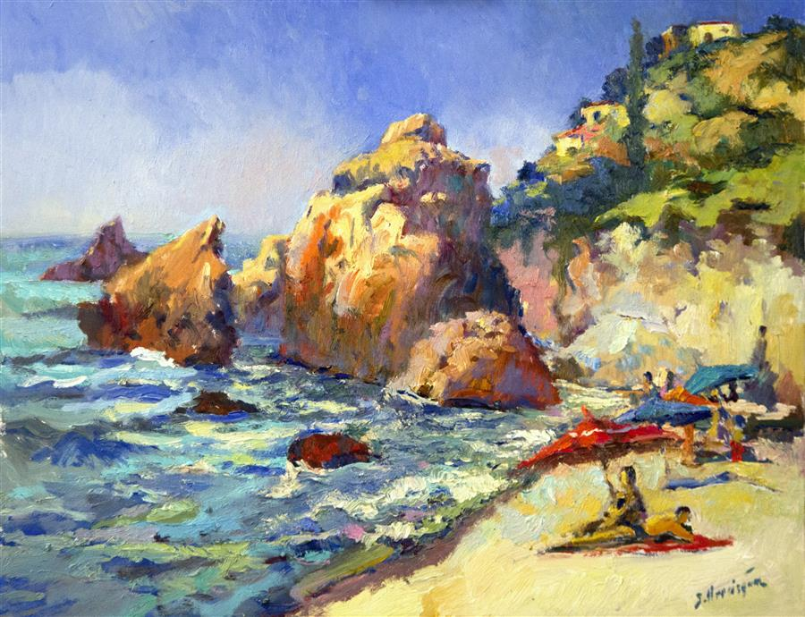 Original art for sale at UGallery.com | Sunny Day on The Beach, Pacific Ocean by SUREN NERSISYAN | $1,100 |  | 22' h x 28' w | ..\art\oil-painting-Sunny-Day-on-The-Beach-Pacific-Ocean