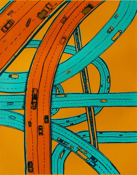 Original art for sale at UGallery.com | Twisting Roads by TONI SILBER-DELERIVE | $250 |  | 15' h x 12' w | ..\art\printmaking-Twisting-Roads