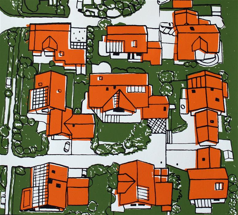 Original art for sale at UGallery.com | Solar Panel Suburb by TONI SILBER-DELERIVE | $175 |  | 10' h x 11' w | ..\art\printmaking-Solar-Panel-Suburb