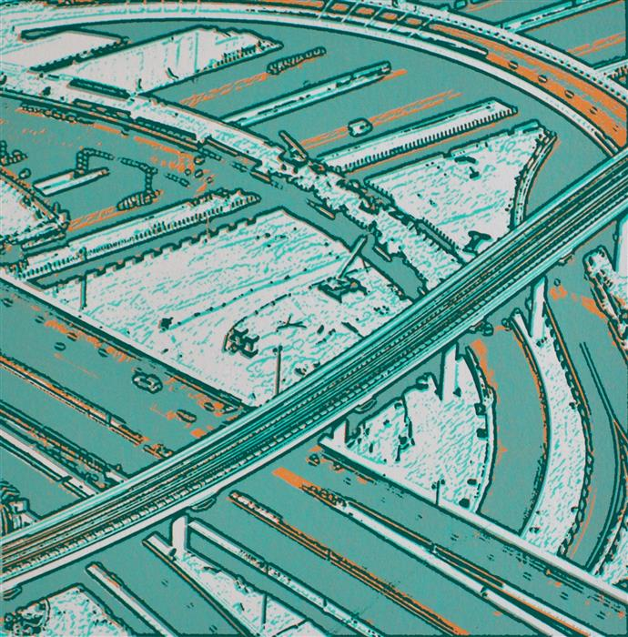 Original art for sale at UGallery.com | Highways in NJ by TONI SILBER-DELERIVE | $150 |  | 8' h x 8' w | ..\art\printmaking-Highways-in-NJ