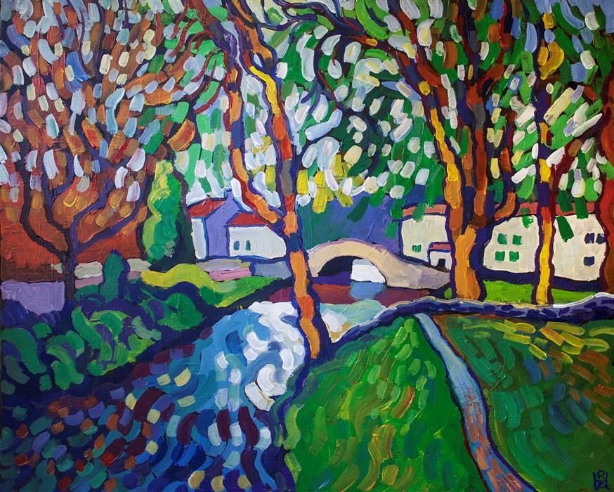 Original art for sale at UGallery.com | View of Stone Bridge by ROBERT HOFHERR | $975 |  | 24' h x 30' w | ..\art\acrylic-painting-View-of-Stone-Bridge