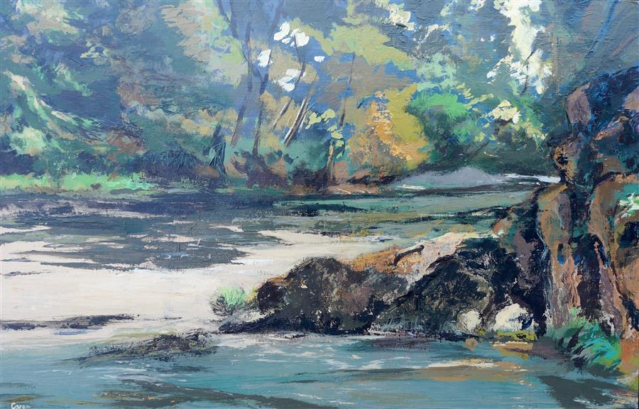 Original art for sale at UGallery.com | North Umpqua River by SIDONIE CARON | $3,425 |  | 31' h x 48' w | ..\art\acrylic-painting-North-Umpqua-River