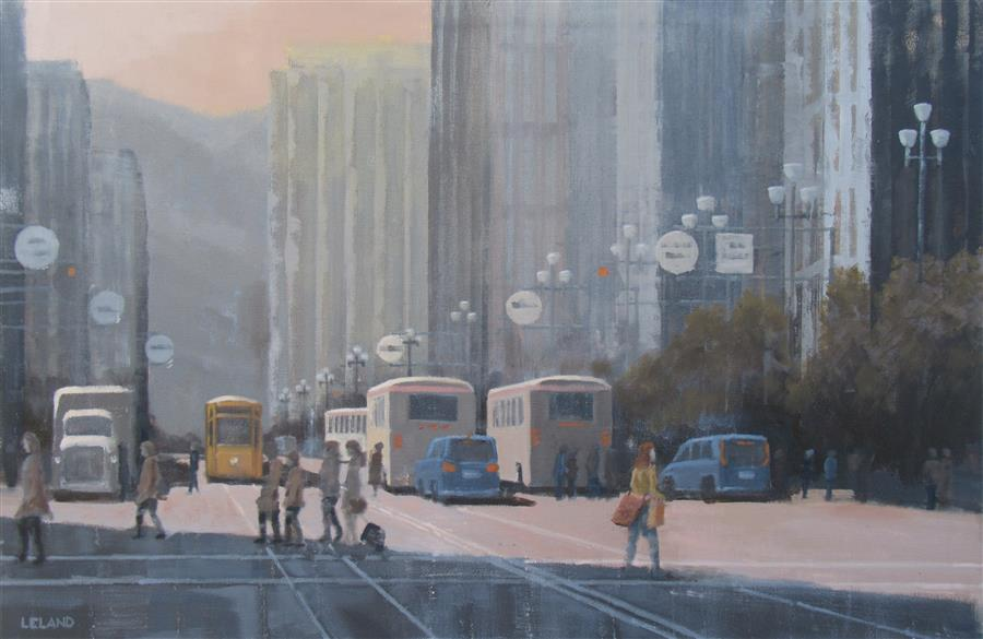 Original art for sale at UGallery.com | Market Street Commotion by JIM LELAND | $1,400 |  | 24' h x 36' w | ..\art\oil-painting-Market-Street-Commotion