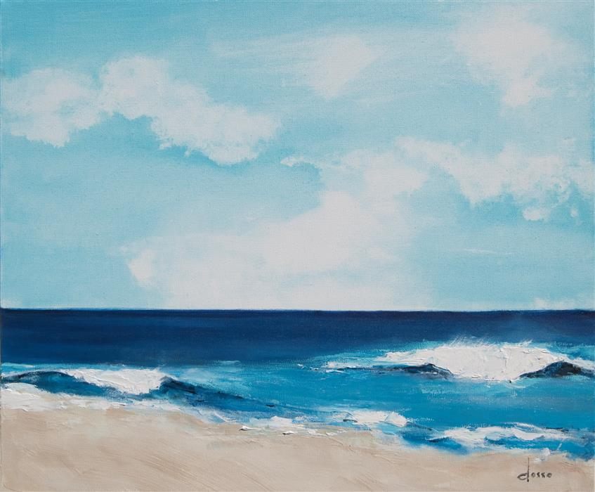 Original art for sale at UGallery.com | September High Tide by ANNE DOSSO-POWELL | $950 |  | 20' h x 24' w | ..\art\oil-painting-September-High-Tide