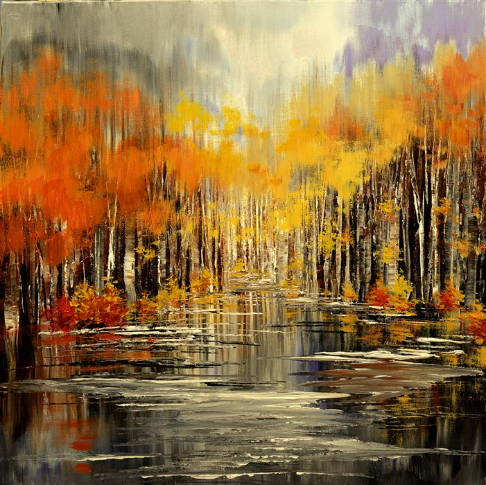 Original art for sale at UGallery.com | Rustic River by TATIANA ILIINA | $1,500 |  | 24' h x 24' w | ..\art\acrylic-painting-Rustic-River