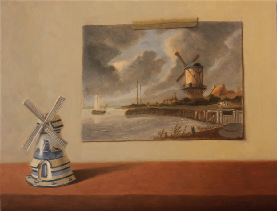Original art for sale at UGallery.com | Windmills by Jose H. Alvarenga | $700 | oil painting | 14' h x 18' w | ..\art\oil-painting-Windmills
