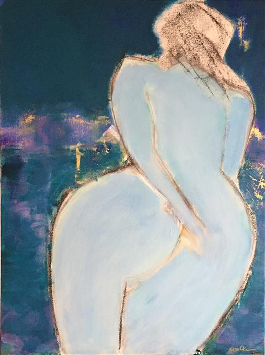 Original art for sale at UGallery.com | Curvaceous Radiance by ROBIN OKUN | $1,525 |  | 24' h x 18' w | ..\art\acrylic-painting-Curvaceous-Radiance