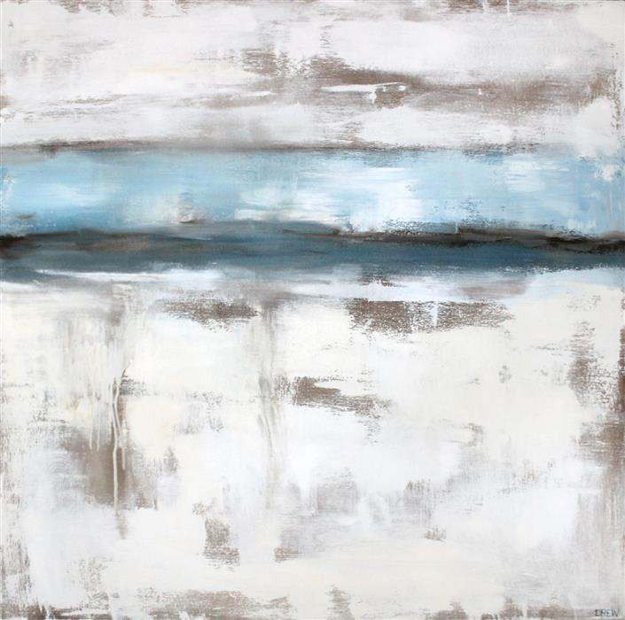Original art for sale at UGallery.com | Winter Lake by Drew Noel Marin | $2,575 | acrylic painting | 40' h x 40' w | ..\art\acrylic-painting-Winter-Lake