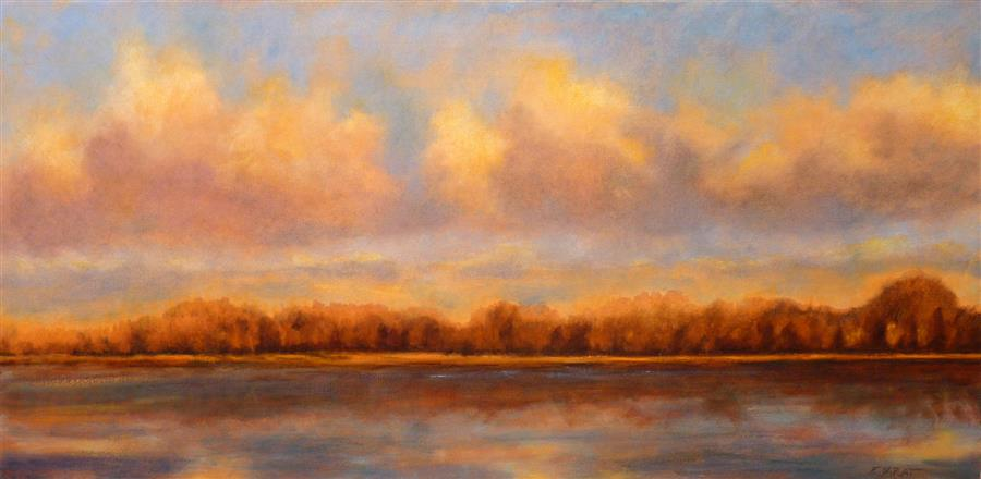 Original art for sale at UGallery.com | After the Gold Rush by Elizabeth Garat | $1,550 | oil painting | 18' h x 36' w | ..\art\oil-painting-After-the-Gold-Rush