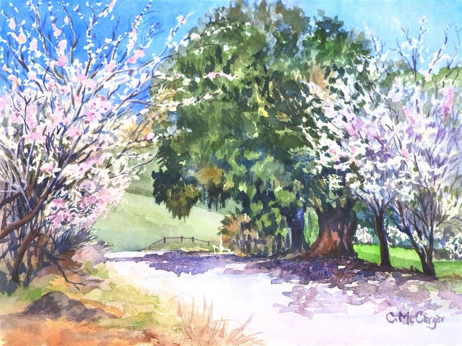 Original art for sale at UGallery.com | Under the Pepper Tree by CATHERINE MCCARGAR | $425 |  | 9' h x 12' w | ..\art\watercolor-painting-Under-the-Pepper-Tree