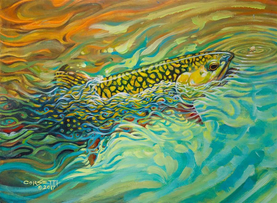 Original art for sale at UGallery.com | Brookie Flash by ROBERT CORSETTI | $1,425 |  | 24' h x 18' w | ..\art\oil-painting-Brookie-Flash