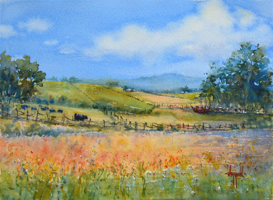 Original art for sale at UGallery.com | The Farm Next Door by JUDY MUDD | $550 |  | 10.75' h x 14.5' w | ..\art\watercolor-painting-The-Farm-Next-Door