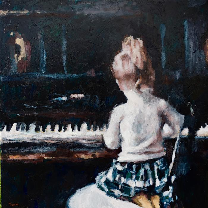 Original art for sale at UGallery.com | Her First Piano by NAVA LUNDY | $2,600 |  | 24' h x 36' w | ..\art\acrylic-painting-Her-First-Piano