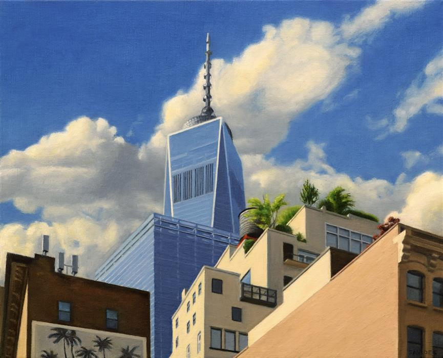 Original art for sale at UGallery.com | Tribeca Rooftops by NICK SAVIDES | $2,125 |  | 16' h x 20' w | ..\art\oil-painting-Tribeca-Rooftops