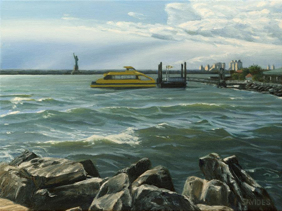 Original art for sale at UGallery.com | Red Hook – New York Harbor by NICK SAVIDES | $875 |  | 9' h x 12' w | ..\art\oil-painting-Red-Hook-New-York-Harbor