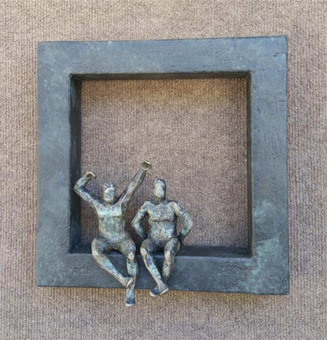 Original art for sale at UGallery.com | Small Beings on Window Z by Yelitza Diaz | $575 | sculpture | 12' h x 11' w | ..\art\mixed-media-artwork-Small-Beings-on-Window-Z