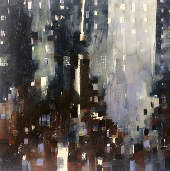 Original art for sale at UGallery.com | Fragili Architetture 4 by ALESSANDRO ANDREUCCETTI | $1,500 |  | 35.4' h x 35.4' w | ..\art\acrylic-painting-Fragili-Architetture-4