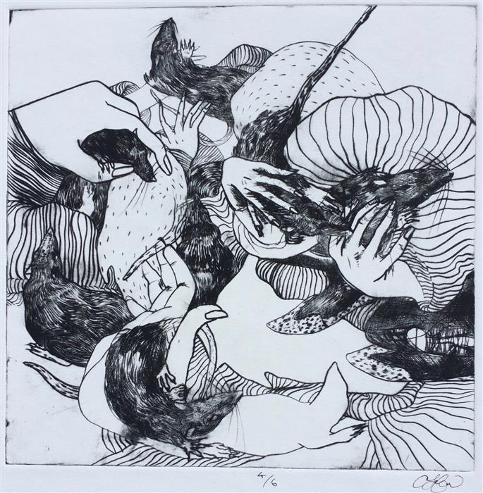 Original art for sale at UGallery.com | Rats by Annelise LaFlamme | $500 | printmaking | 22' h x 15' w | ..\art\printmaking-Rats