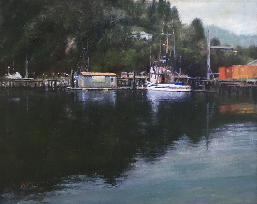 Original art for sale at UGallery.com | Salmon Harbor Reflections, Winchester Bay by DAVID TERRY | $4,525 |  | 20.5' h x 24.5' w | ..\art\oil-painting-Salmon-Harbor-Reflections-Winchester-Bay