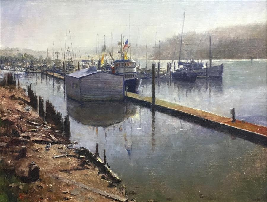 Original art for sale at UGallery.com | Fishing Boats Resting in Port of Siuslaw by DAVID TERRY | $4,125 |  | 20' h x 25' w | ..\art\oil-painting-Fishing-Boats-Resting-in-Port-of-Siuslaw