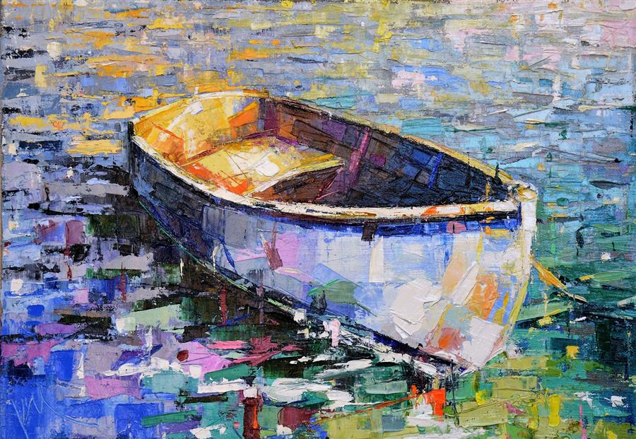 Original art for sale at UGallery.com | Boat/27 by KIM MCANINCH | $500 |  | 14' h x 20' w | ..\art\oil-painting-Boat-27-56281