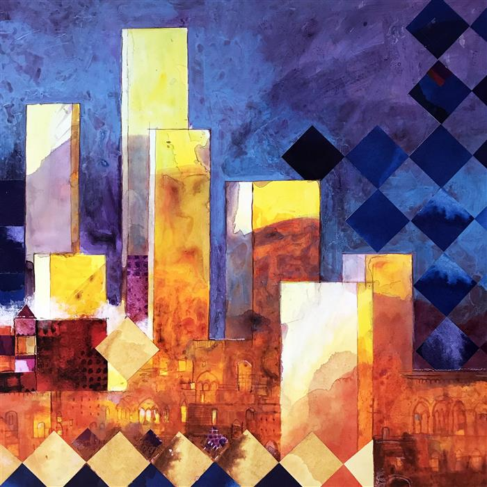 Original art for sale at UGallery.com | Towers of Tuscany by ALESSANDRO ANDREUCCETTI | $1,100 |  | 23.6' h x 23.6' w | ..\art\mixed-media-artwork-Towers-of-Tuscany