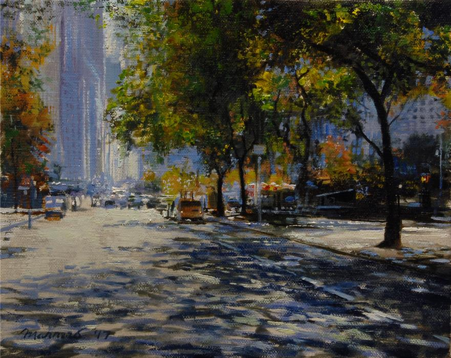 Original art for sale at UGallery.com | Crossing Fifth Avenue by ONELIO MARRERO | $450 |  | 8' h x 10' w | ..\art\oil-painting-Crossing-Fifth-Avenue