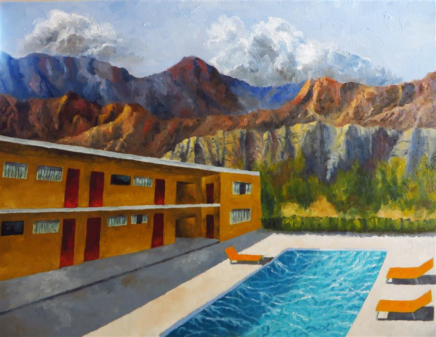 Original art for sale at UGallery.com | Elephant Rock Motel by MITCHELL FREIFELD | $1,100 |  | 25' h x 30' w | ..\art\oil-painting-Elephant-Rock-Motel