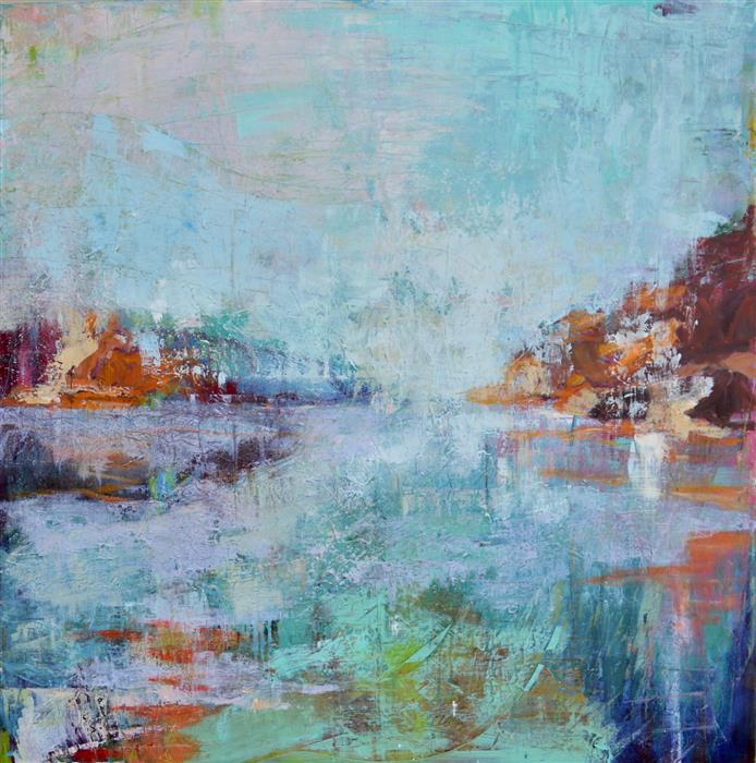 Original art for sale at UGallery.com | Reflection, Morning by JULIA  HACKER | $3,625 |  | 48' h x 48' w | ..\art\oil-painting-Reflection-Morning