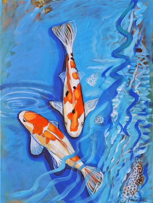 Original art for sale at UGallery.com | Two Koi by Kira Yustak | $700 | acrylic painting | 24' h x 18' w | ..\art\acrylic-painting-Two-Koi