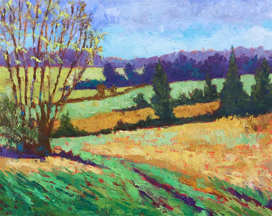 Original art for sale at UGallery.com | Springtime, Rolling Hills by ROXANNE STEED | $2,275 |  | 24' h x 30' w | ..\art\oil-painting-Springtime-Rolling-Hills