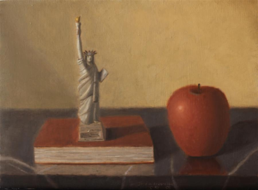 Original art for sale at UGallery.com | The Big Apple by JOSE H. ALVARENGA | $550 |  | 9' h x 12' w | ..\art\oil-painting-The-Big-Apple-56373
