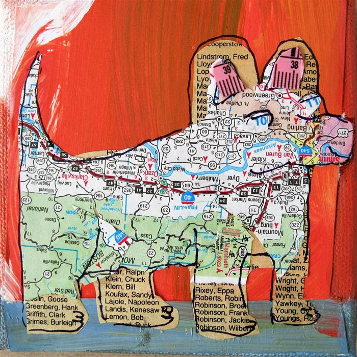 Original art for sale at UGallery.com | Off Leash by LIBBY RAMAGE | $75 |  | 4' h x 4' w | ..\art\mixed-media-artwork-Off-Leash