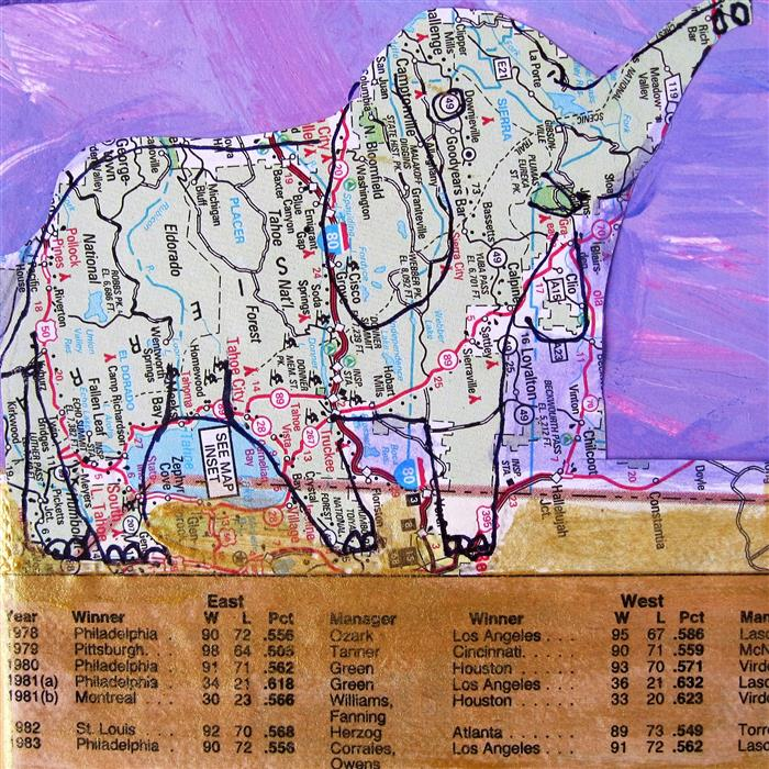 Original art for sale at UGallery.com | East West by LIBBY RAMAGE | $75 |  | 4' h x 4' w | ..\art\mixed-media-artwork-East-West