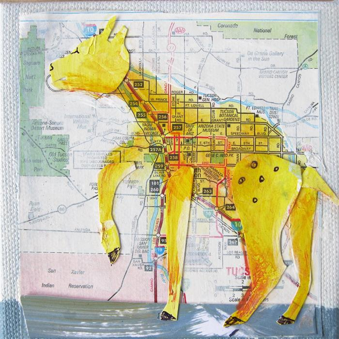 Original art for sale at UGallery.com | Yellow Deer by Libby Ramage | $75 | mixed media artwork | 4' h x 4' w | ..\art\mixed-media-artwork-Yellow-Deer