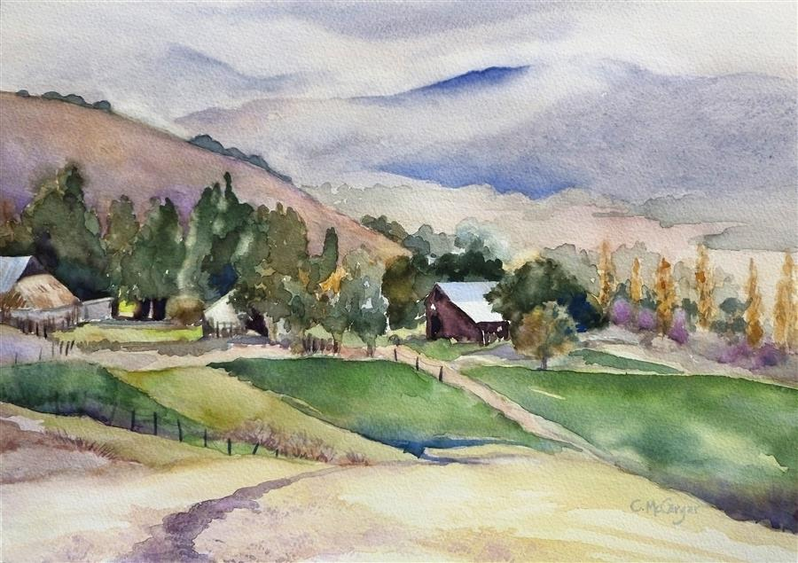 Original art for sale at UGallery.com | Sonoma Farm by CATHERINE MCCARGAR | $475 |  | 10' h x 14' w | ..\art\watercolor-painting-Sonoma-Farm