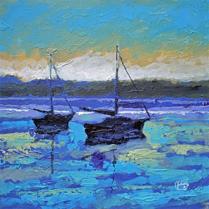 Original art for sale at UGallery.com | Two Sailboats at Dawn by KIP DECKER | $1,050 |  | 20' h x 20' w | ..\art\acrylic-painting-Two-Sailboats-at-Dawn