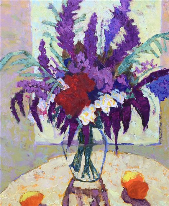 Original art for sale at UGallery.com | Aubergine Autumn Bouquet by ROXANNE STEED | $1,850 |  | 24' h x 20' w | ..\art\oil-painting-Aubergine-Autumn-Bouquet
