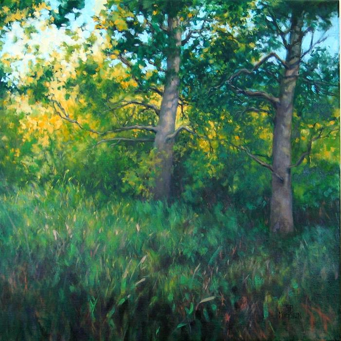 Original art for sale at UGallery.com | Woodland Sentinels by SUZANNE MASSION | $850 |  | 24' h x 24' w | ..\art\oil-painting-Woodland-Sentinels