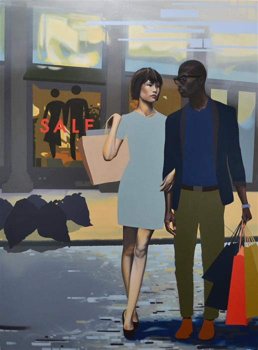 Original art for sale at UGallery.com | Shoppers by DUSTIN JOYCE | $9,825 |  | 48' h x 36' w | ..\art\oil-painting-Shoppers