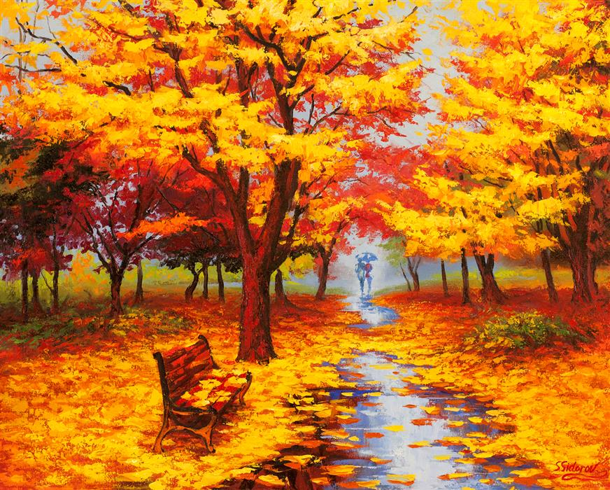 Original art for sale at UGallery.com | Autumn Cascade by STANISLAV SIDOROV | $1,775 |  | 24' h x 30' w | ..\art\oil-painting-Autumn-Cascade