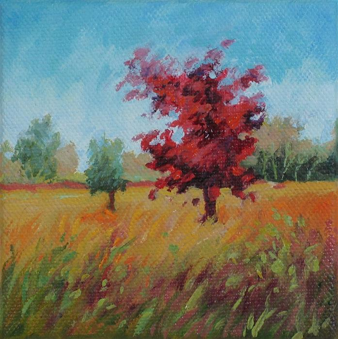 Original art for sale at UGallery.com | One Scarlet Oak by SUZANNE MASSION | $75 |  | 4' h x 4' w | ..\art\oil-painting-One-Scarlet-Oak