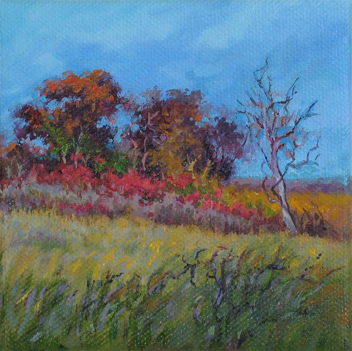 Original art for sale at UGallery.com | Sumac On The Burr Oak Ridge by SUZANNE MASSION | $75 |  | 4' h x 4' w | ..\art\oil-painting-Sumac-On-The-Burr-Oak-Ridge