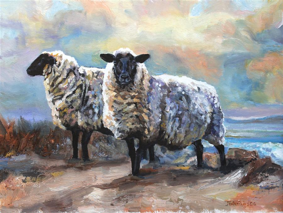 Original art for sale at UGallery.com | Black Faced Sheep, Devon by JAN FONTECCHIO PERLEY | $675 |  | 12' h x 16' w | ..\art\oil-painting-Black-Faced-Sheep-Devon