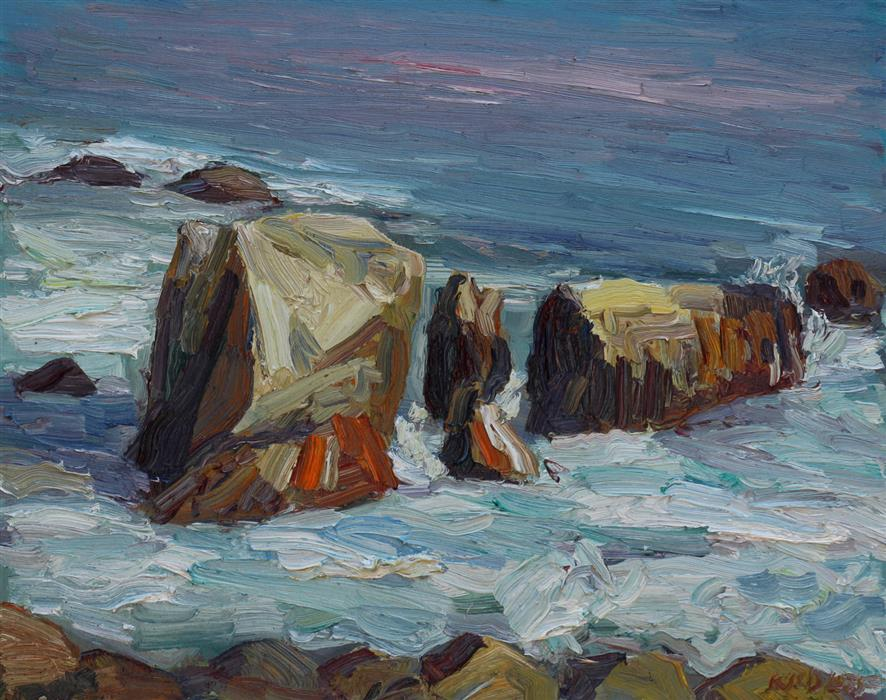 Original art for sale at UGallery.com | Leo Carrillo State Beach Rocks #2 by JOHN KILDUFF | $725 |  | 16' h x 20' w | ..\art\oil-painting-Leo-Carrillo-State-Beach-Rocks-2